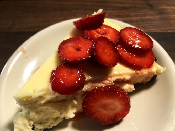 Cast Iron Cheesecake with Strawberries