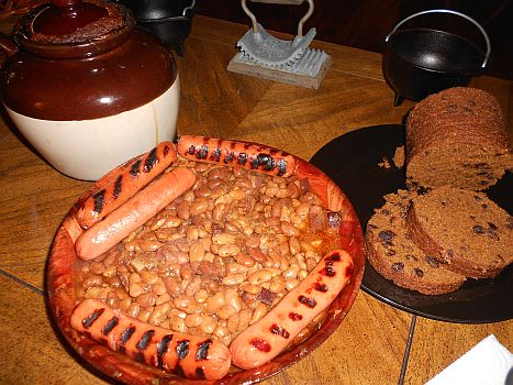 Franks, Boston baked beans and New England brown bread