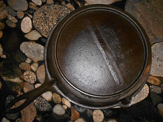 Restored 19th century cast iron skillet (back)